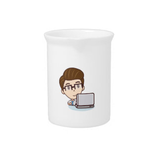 Computer guy drink pitcher
