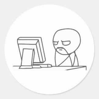 Computer Guy Meme - Round Stickers