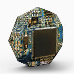 """Computer Hard Drive Circuit Board blue Acrylic Award<br><div class=""""desc"""">This one&#39;s for the Geeks in all of us.  Computer Hard Drive Circuit Board photograph by Travis L. Lagasse of Flowstone Graphics.</div>"""