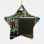 Computer Hard Drive Circuit Board blue Double-Sided Star Ceramic Christmas Ornament