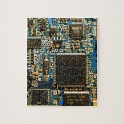 Computer Hard Drive Circuit Board blue Jigsaw Puzzle