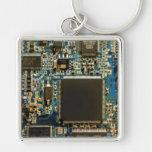 Computer Hard Drive Circuit Board blue Silver-Colored Square Keychain