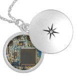 Computer Hard Drive Circuit Board blue Round Locket Necklace