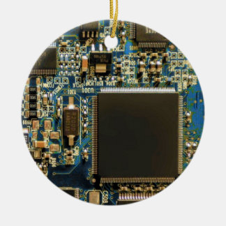 Computer Hard Drive Circuit Board blue Double-Sided Ceramic Round Christmas Ornament