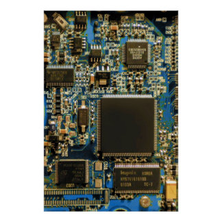 Computer Hard Drive Circuit Board blue Poster