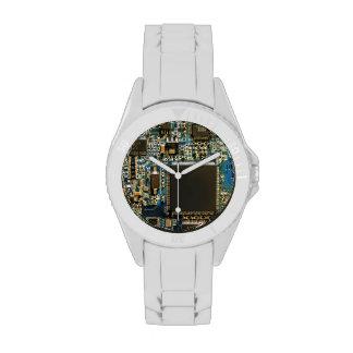 Computer Hard Drive Circuit Board blue Wrist Watch