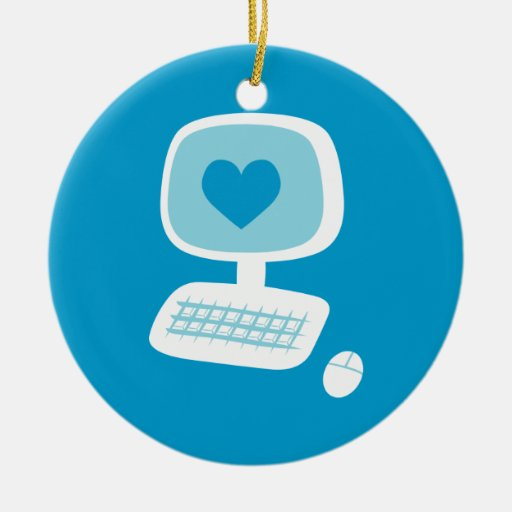 Computer Heart Double-Sided Ceramic Round Christmas Ornament