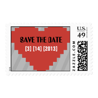 Computer Heart Pixel Save the Date Postage