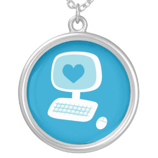 Computer Heart Round Pendant Necklace