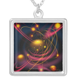 Computer illustration technique silver plated necklace