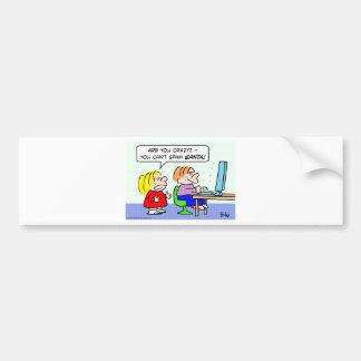 computer internet can't spam santa kids bumper sticker
