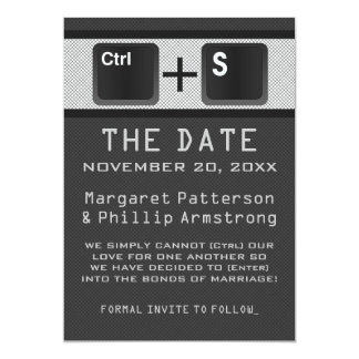 Computer Key Control Save the Date, Gray Card