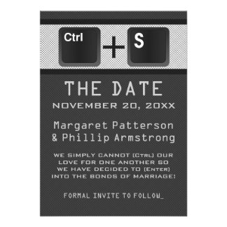 Computer Key Control Save the Date Gray Personalized Invite