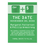 Computer Key Control Save the Date, Green Custom Announcement