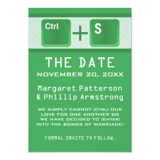 Computer Key Control Save the Date, Green 5x7 Paper Invitation Card