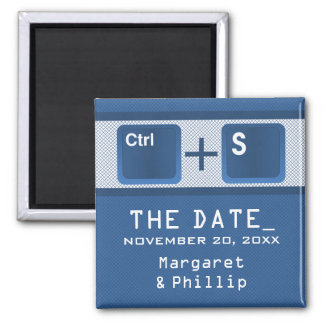 Computer Key Control Save the Date Magnet, Blue 2 Inch Square Magnet