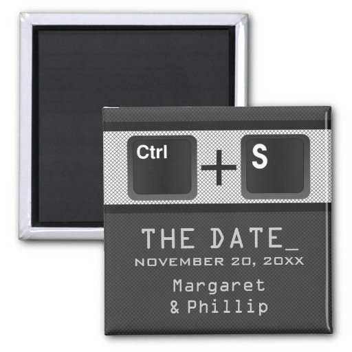 Computer Key Control Save the Date Magnet, Gray 2 Inch Square Magnet