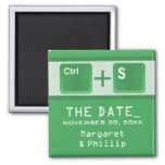 Computer Key Control Save the Date Magnet, Green 2 Inch Square Magnet