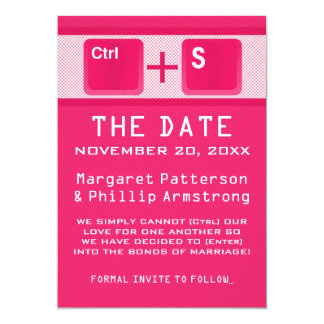 Computer Key Control Save the Date, Pink Card