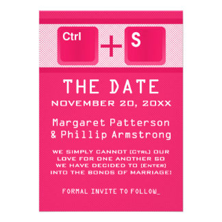 Computer Key Control Save the Date Pink Personalized Announcements