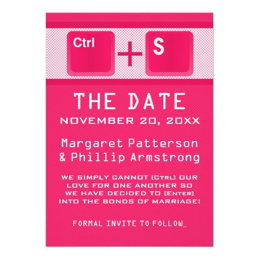 Computer Key Control Save the Date, Pink Personalized Announcements