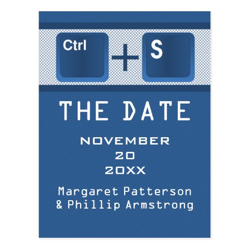 Computer Key Control Save the Date Postcard, Blue