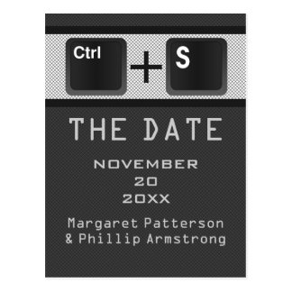 Computer Key Control Save the Date Postcard Gray