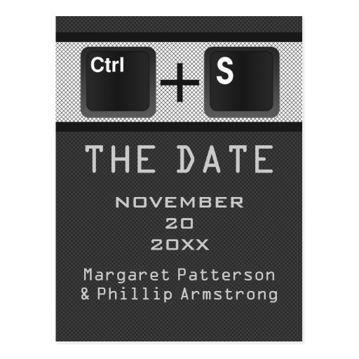 Computer Key Control Save the Date Postcard, Gray