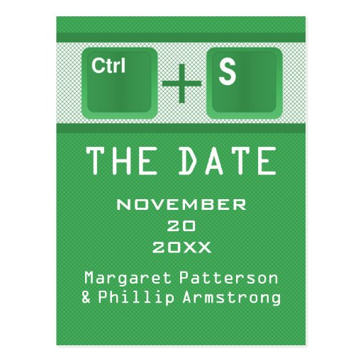 Computer Key Control Save the Date Postcard, Green