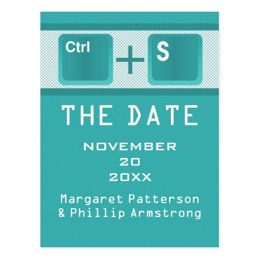Computer Key Control Save the Date Postcard, Teal