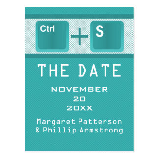 Computer Key Control Save the Date Postcard, Teal Postcard