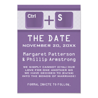 Computer Key Control Save the Date, Purple Card