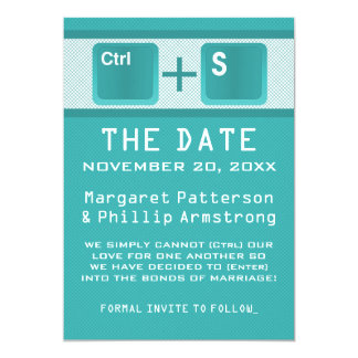 Computer Key Control Save the Date, Teal Card