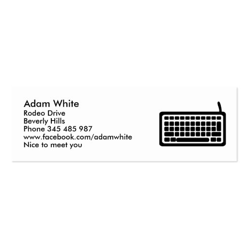Computer keyboard business cards