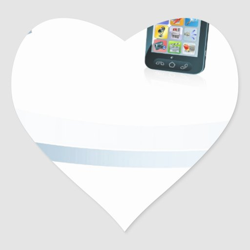Computer laptop and cell phone connecting heart sticker