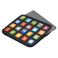 Computer laptop sleeve with colorful app icons