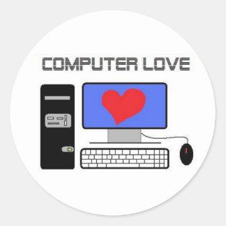 Computer Love Round Stickers