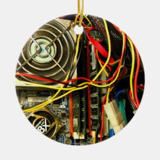 Computer mainboard electronics closeup ceramic ornament