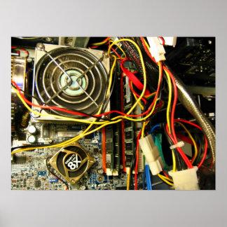 Computer mainboard electronics closeup poster
