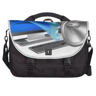 Computer megaphone concept computer bag