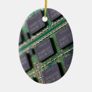 Computer Memory Chips Double-Sided Oval Ceramic Christmas Ornament