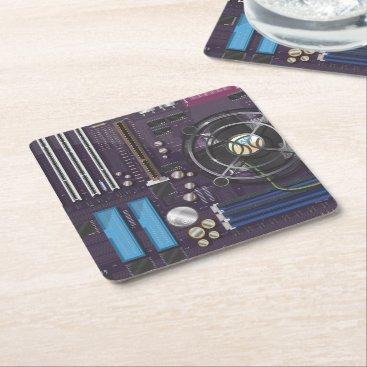 bartonleclaydesign Computer Motherboard CPU Square Paper Coaster