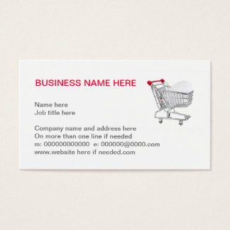 computer mouse in a supermarket shopping trolley business card
