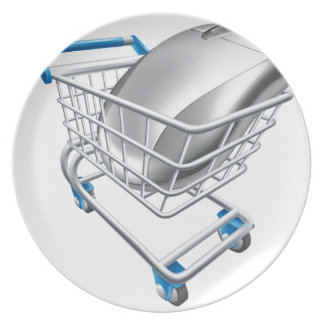 Computer mouse in trolley dinner plate