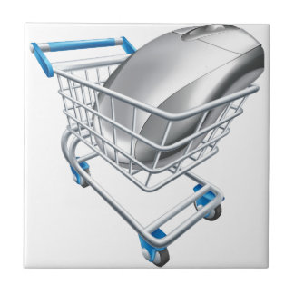 Computer mouse in trolley tiles