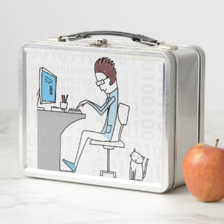 Computer Nerd with Cat Cartoon in Blue and White Metal Lunch Box