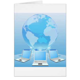 Computer network world concept greeting card
