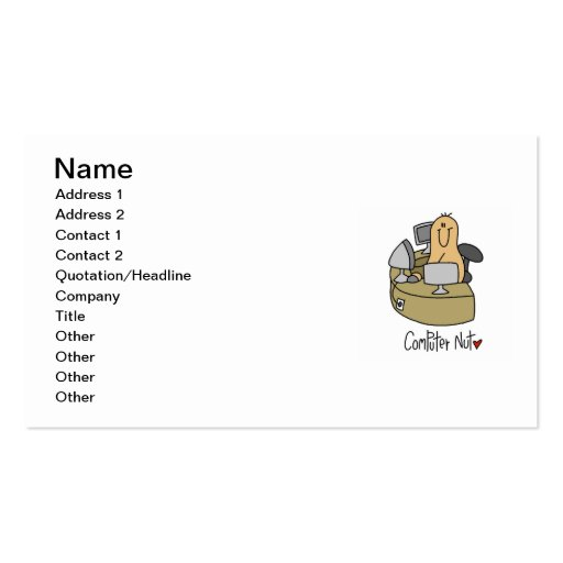 Computer Nut T-shirts and Gifts Business Card Templates