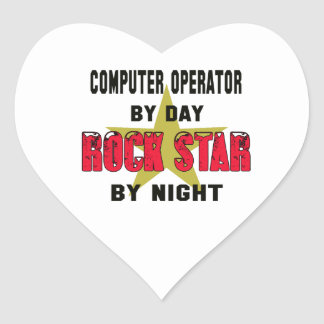 Computer operator by Day rockstar by night Heart Sticker