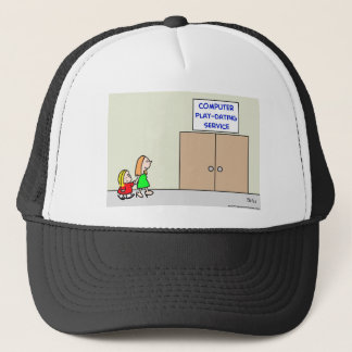 computer play dating service trucker hat